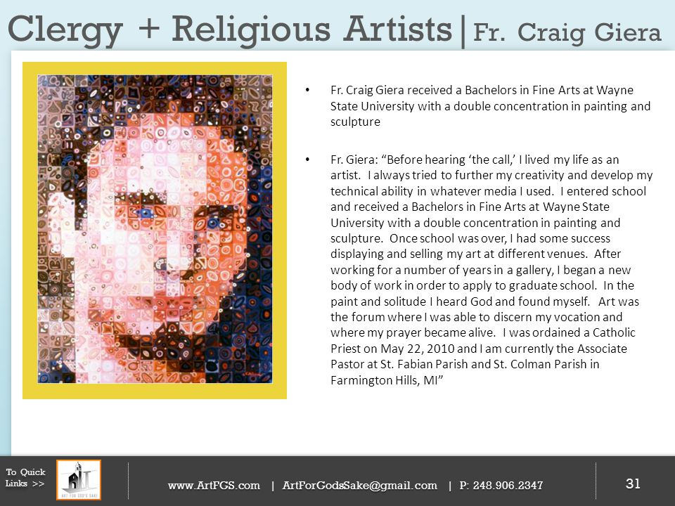 Clergy + Religious Artists|Fr. Craig Giera
