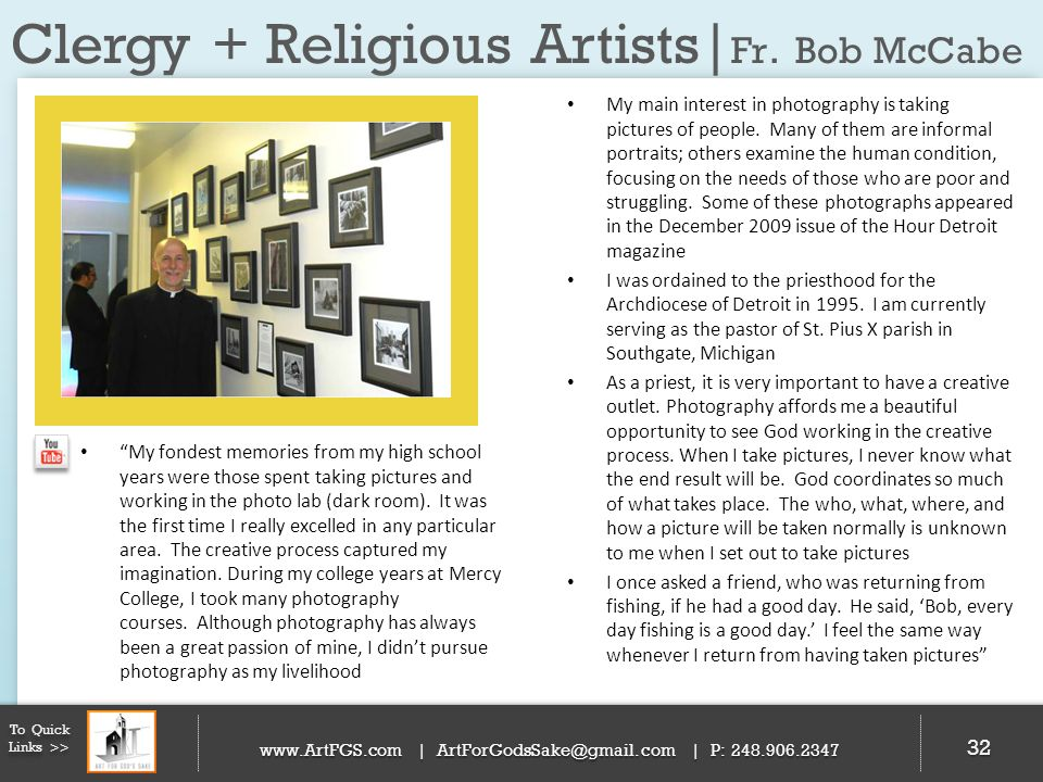 Clergy + Religious Artists|Fr. Bob McCabe