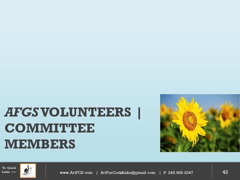 AFGS VOLUNTEERS | COMMITTEE MEMBERS