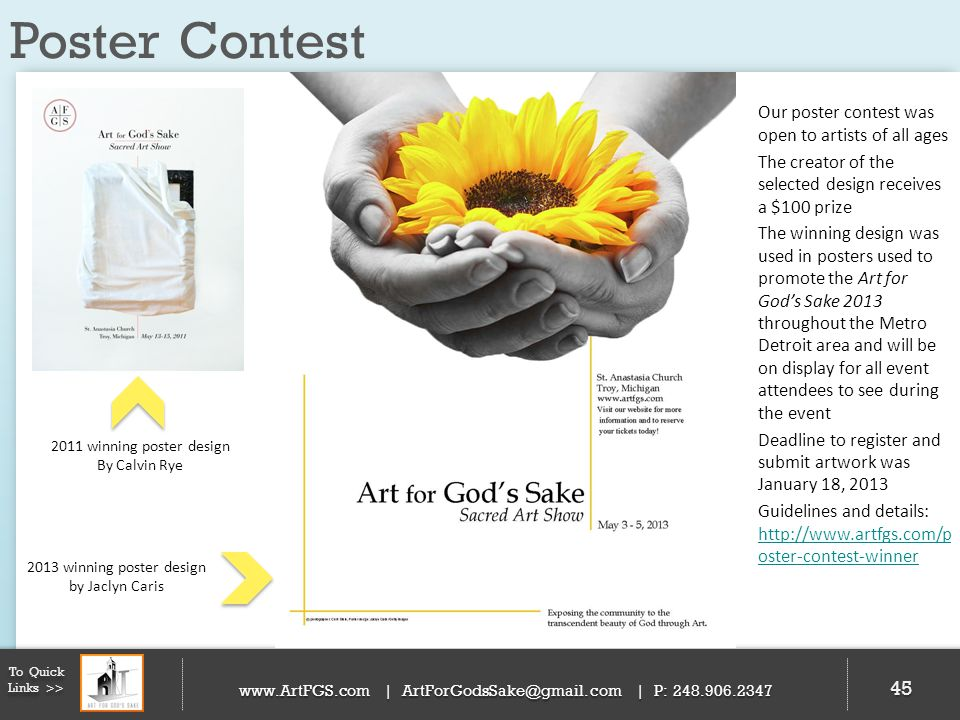 Poster Contest Our poster contest was open to artists of all ages
