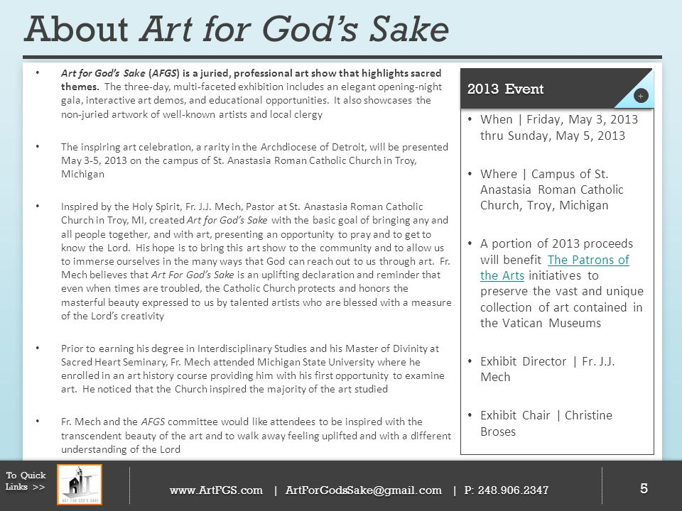 About Art for God's Sake