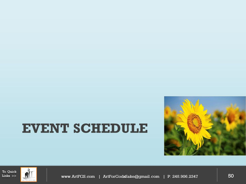 Event schedule To Quick Links >> 50   | | P: