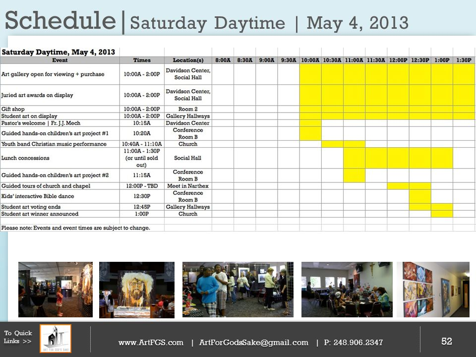 Schedule|Saturday Daytime | May 4, 2013
