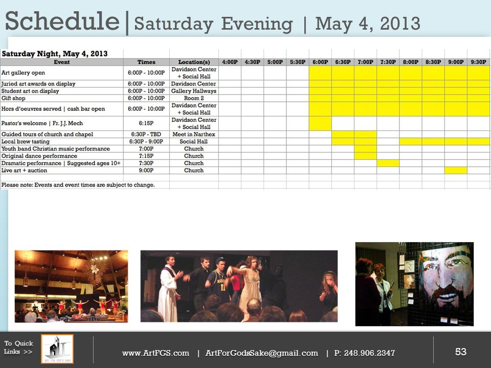 Schedule|Saturday Evening | May 4, 2013