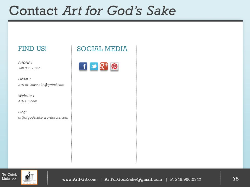 Contact Art for God's Sake