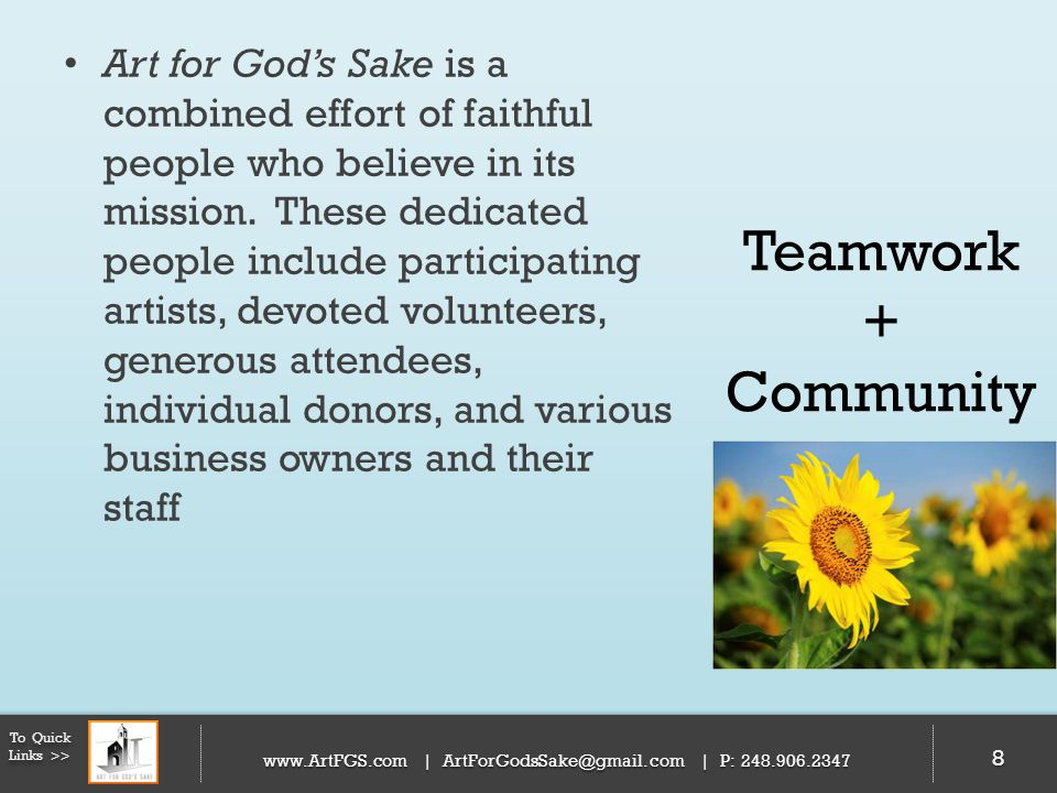 Art for God's Sake is a combined effort of faithful people who believe in its mission. These dedicated people include participating artists, devoted volunteers, generous attendees, individual donors, and various business owners and their staff