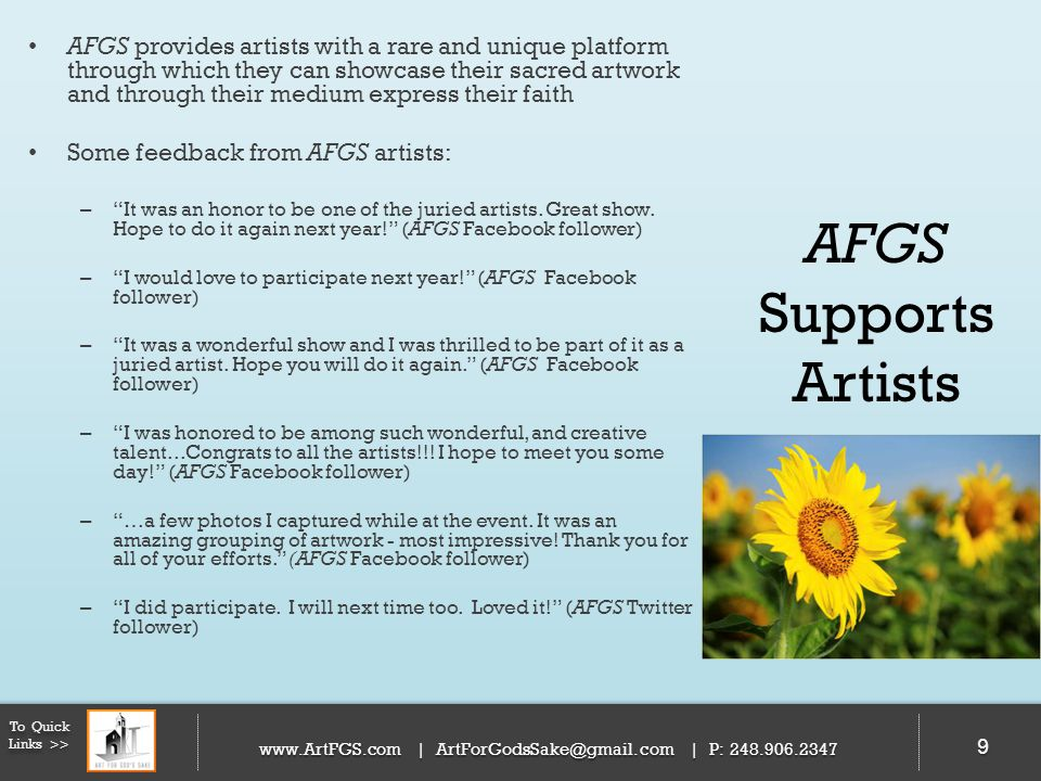 AFGS provides artists with a rare and unique platform through which they can showcase their sacred artwork and through their medium express their faith