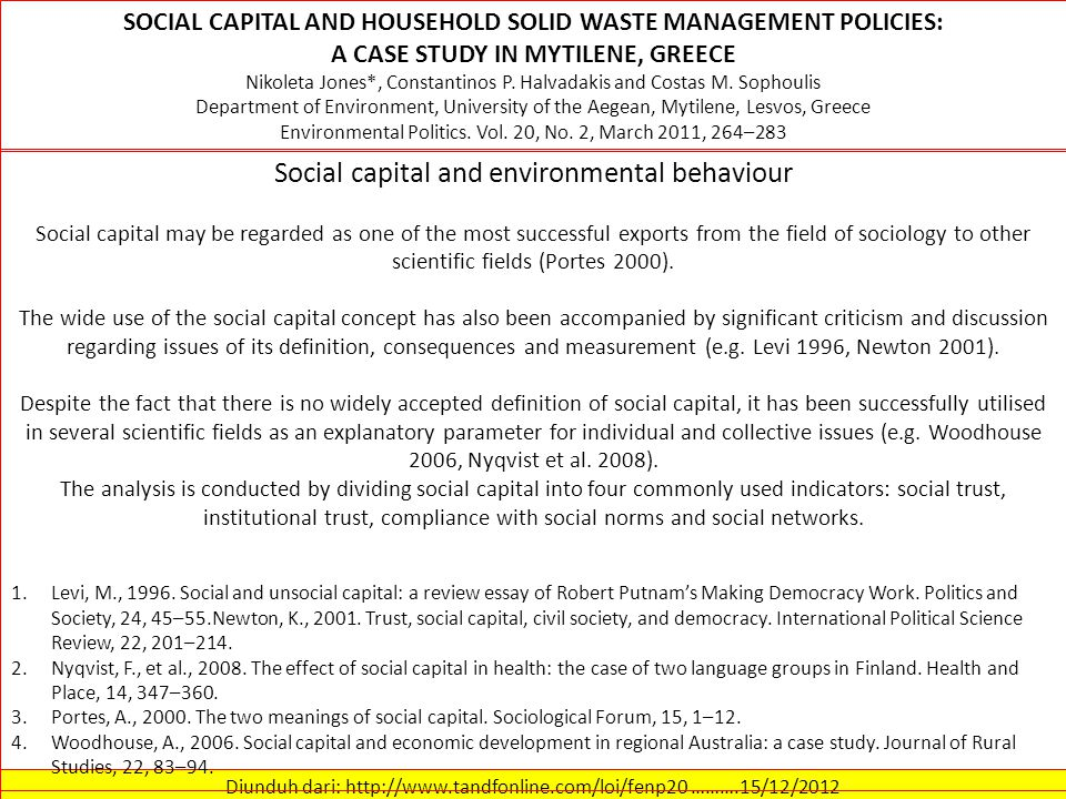 Social capital and environmental behaviour