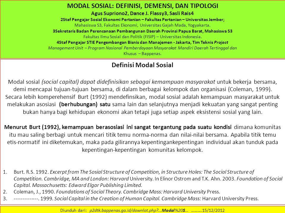 MODAL SOSIAL: DEFINISI, DEMENSI, DAN TIPOLOGI Definisi Modal Sosial