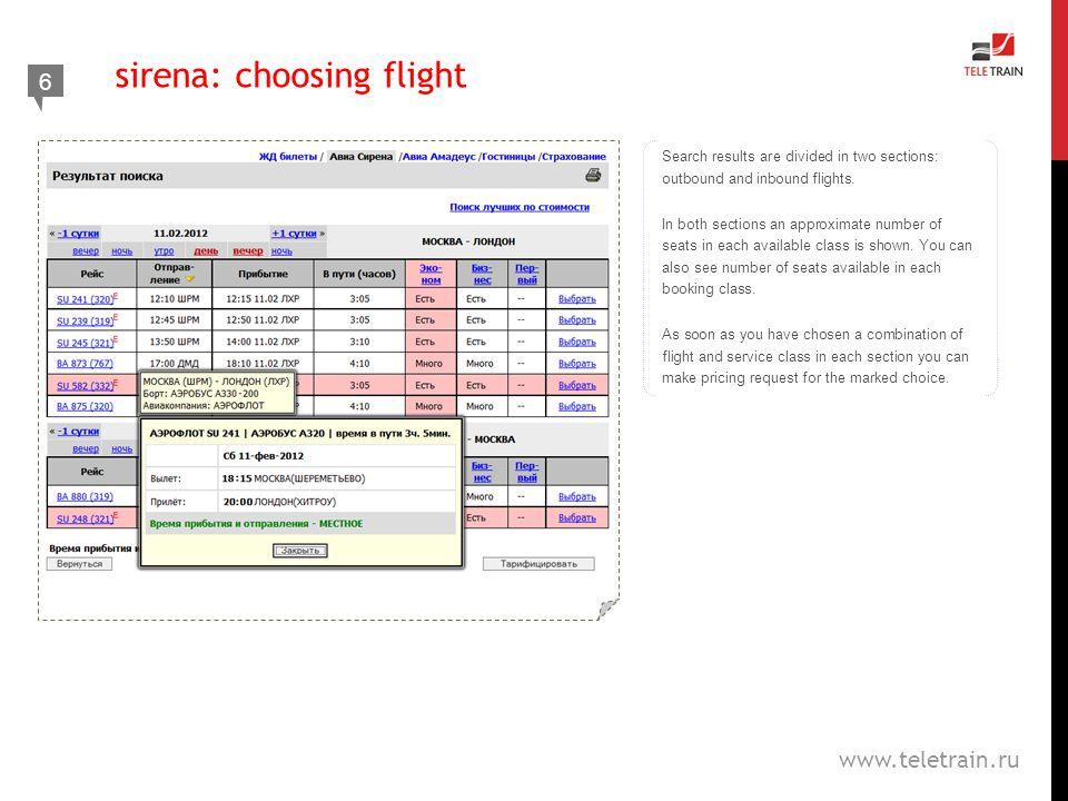sirena: choosing flight