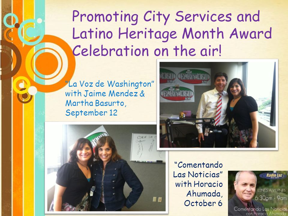 Promoting City Services and Latino Heritage Month Award Celebration on the air!