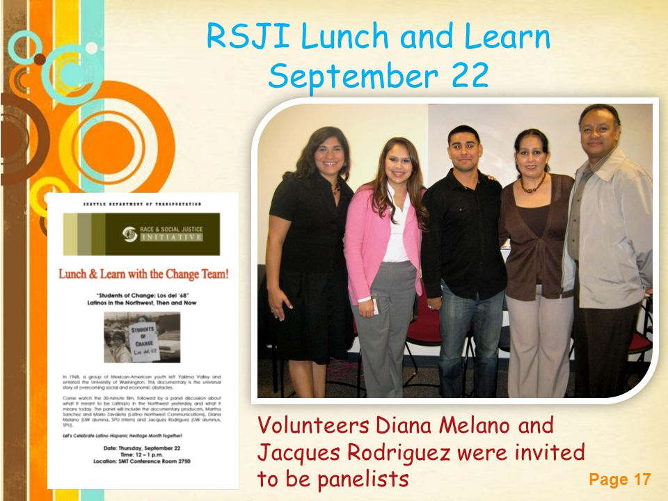 RSJI Lunch and Learn September 22