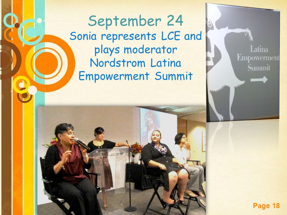 September 24 Sonia represents LCE and plays moderator Nordstrom Latina Empowerment Summit