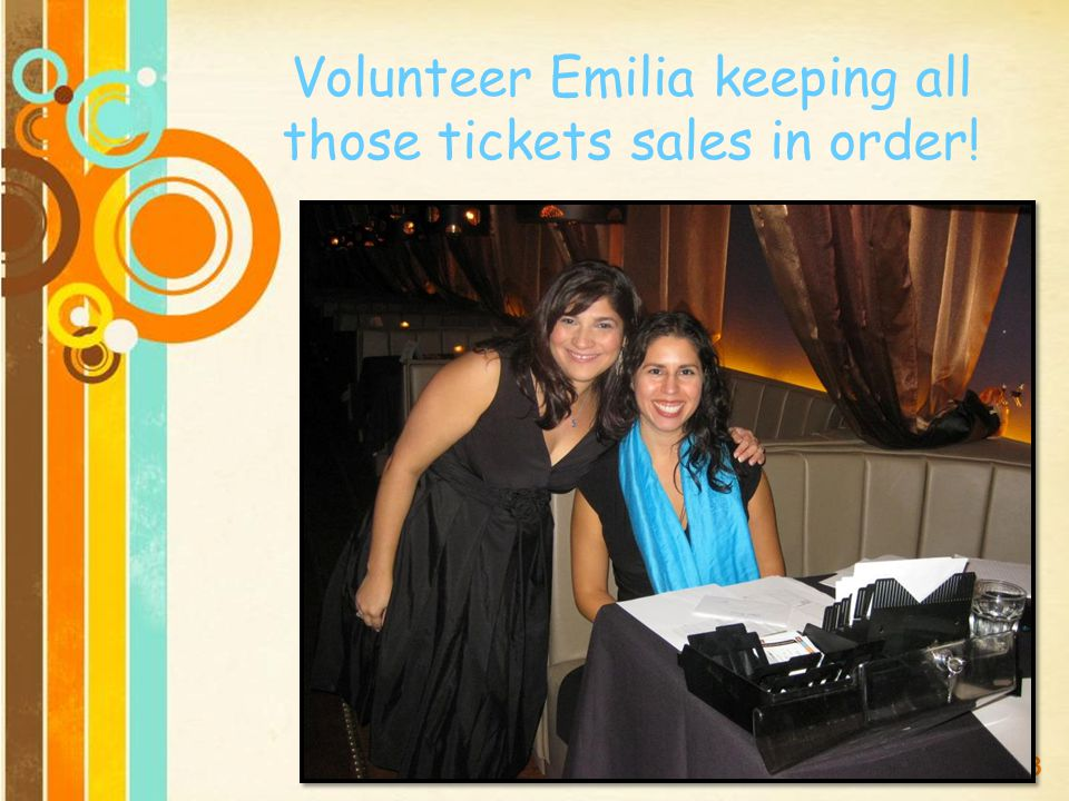 Volunteer Emilia keeping all those tickets sales in order!