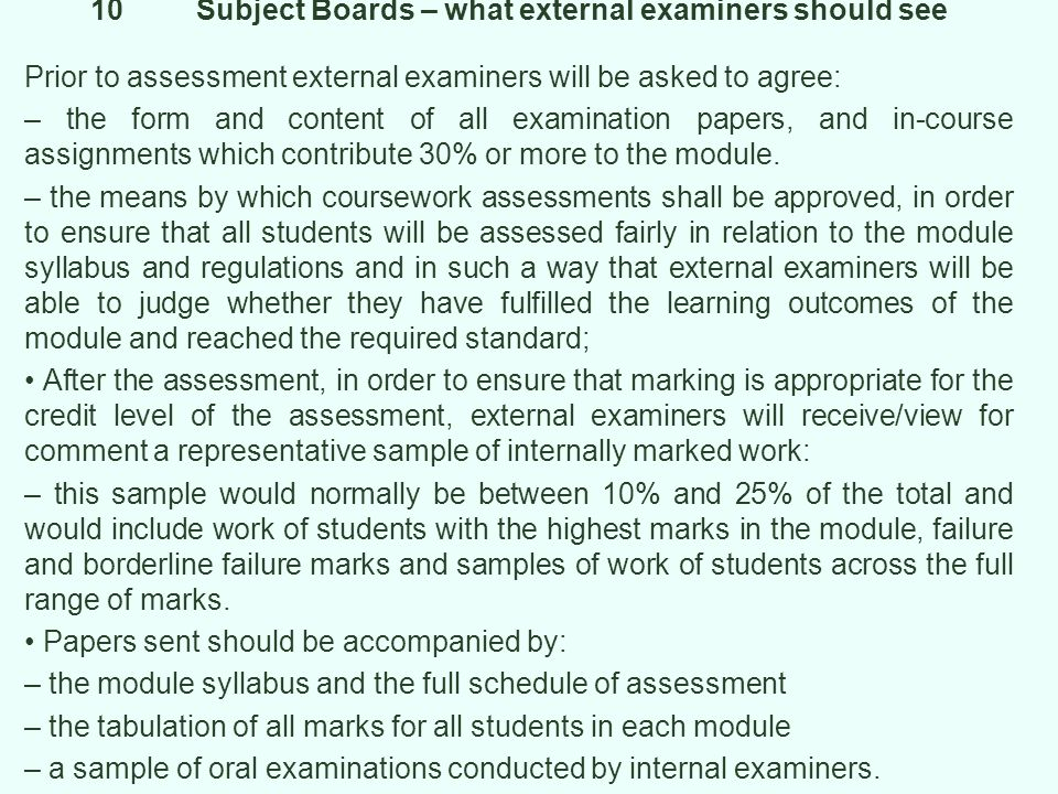 10 Subject Boards – what external examiners should see