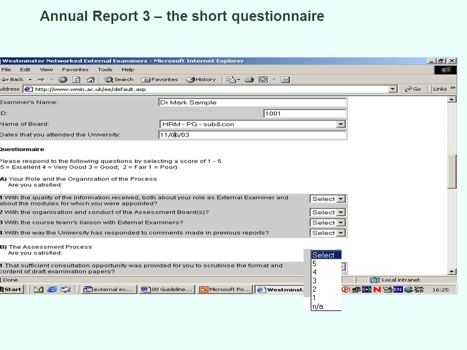 Annual Report 3 – the short questionnaire