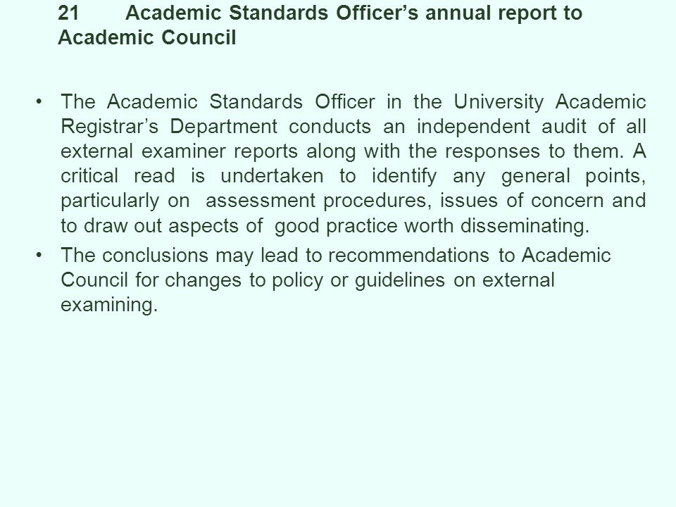 21 Academic Standards Officer's annual report to Academic Council