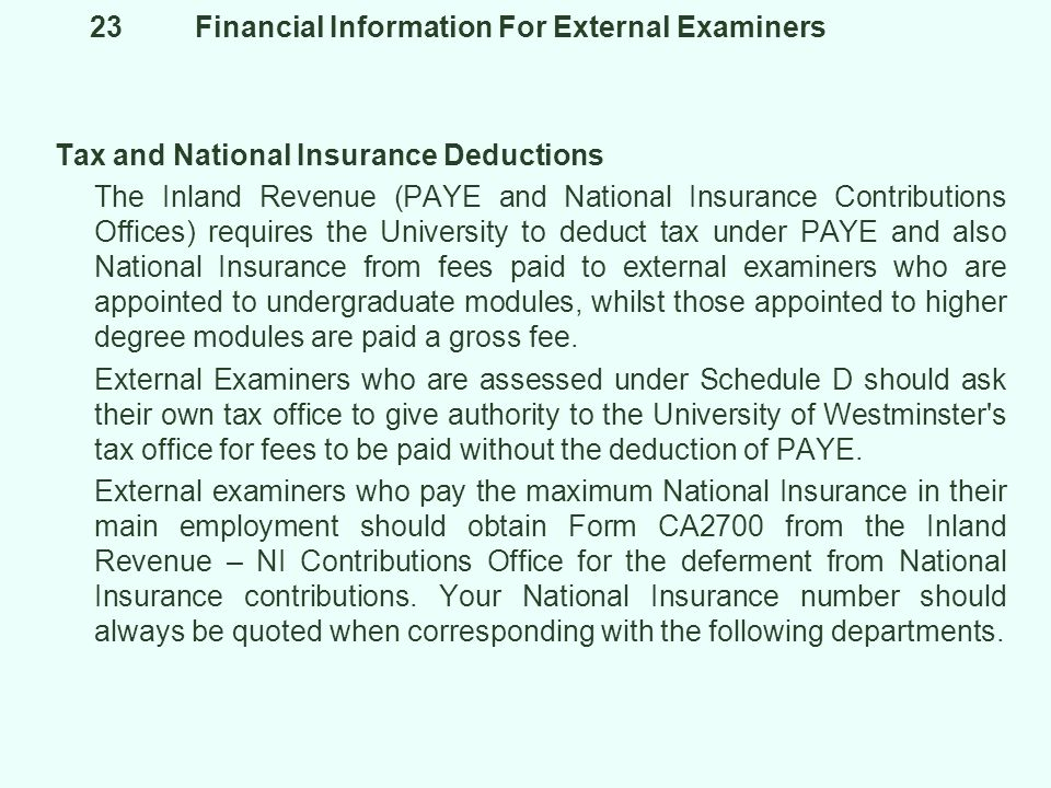 23 Financial Information For External Examiners