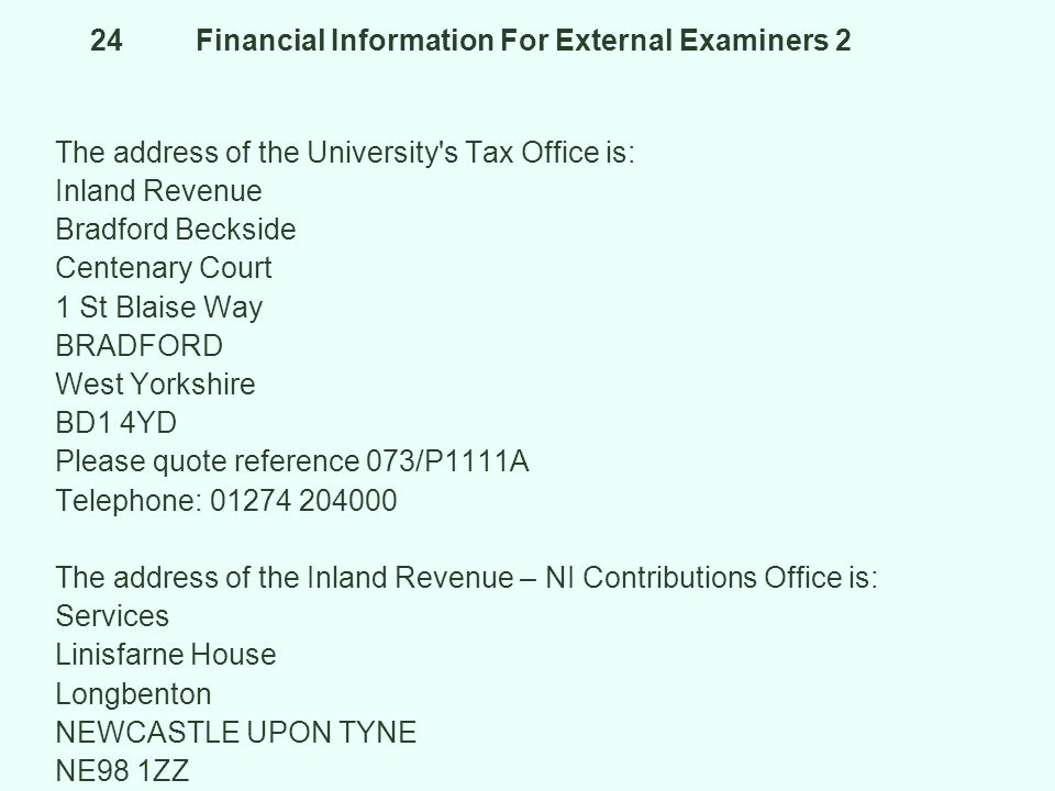 24 Financial Information For External Examiners 2