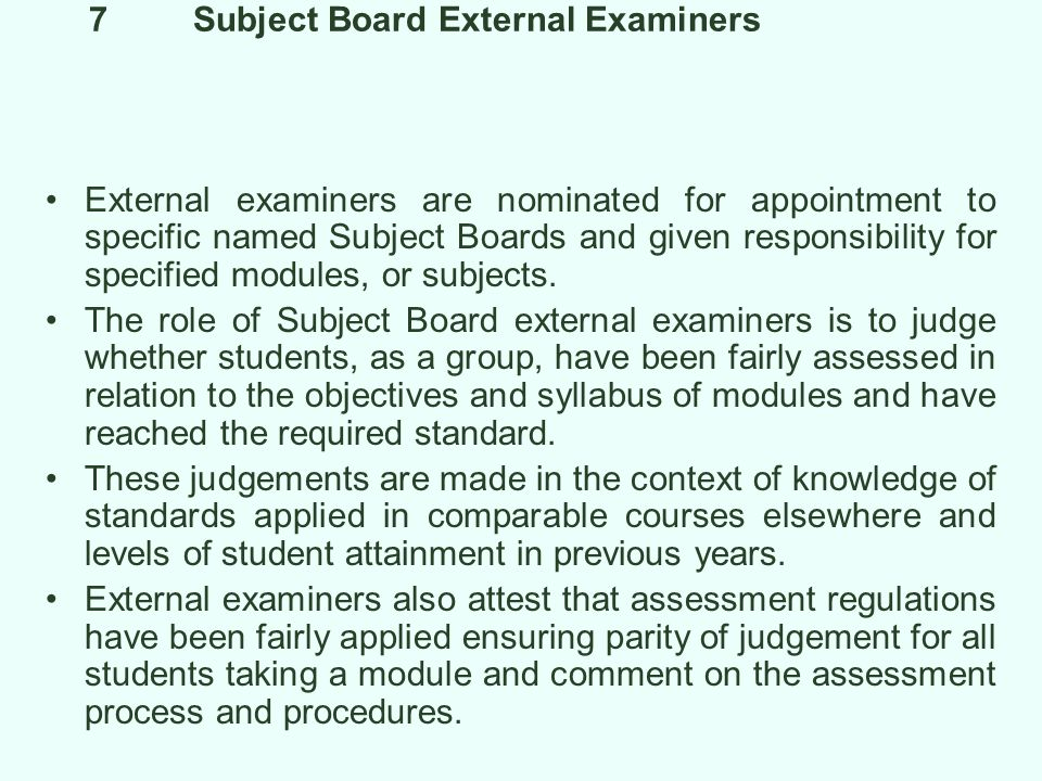 7 Subject Board External Examiners