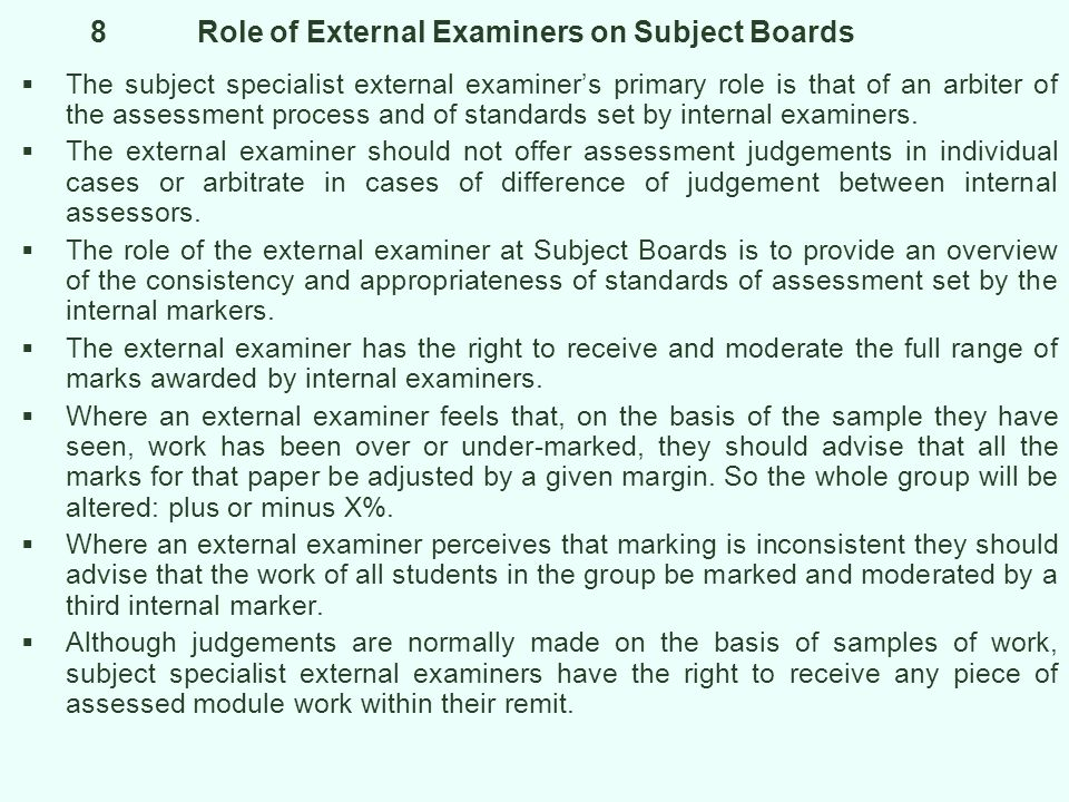 8 Role of External Examiners on Subject Boards