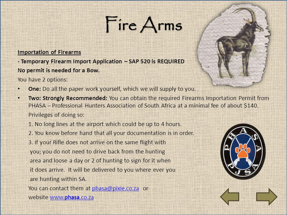 Fire Arms Importation of Firearms