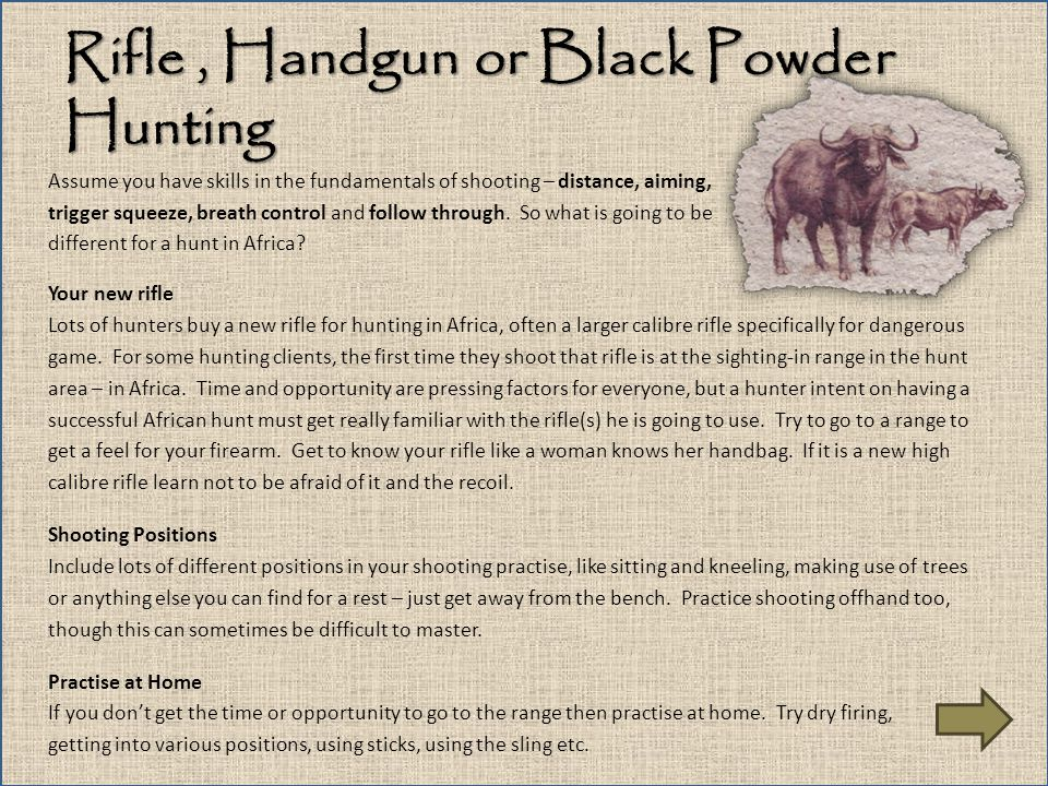 Rifle , Handgun or Black Powder Hunting