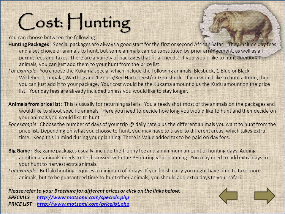 Cost: Hunting