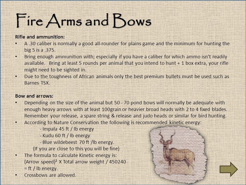 Fire Arms and Bows Rifle and ammunition: