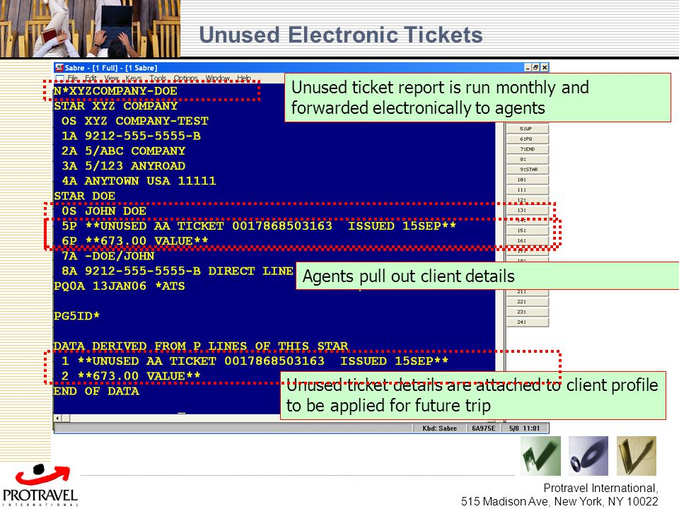 Unused Electronic Tickets