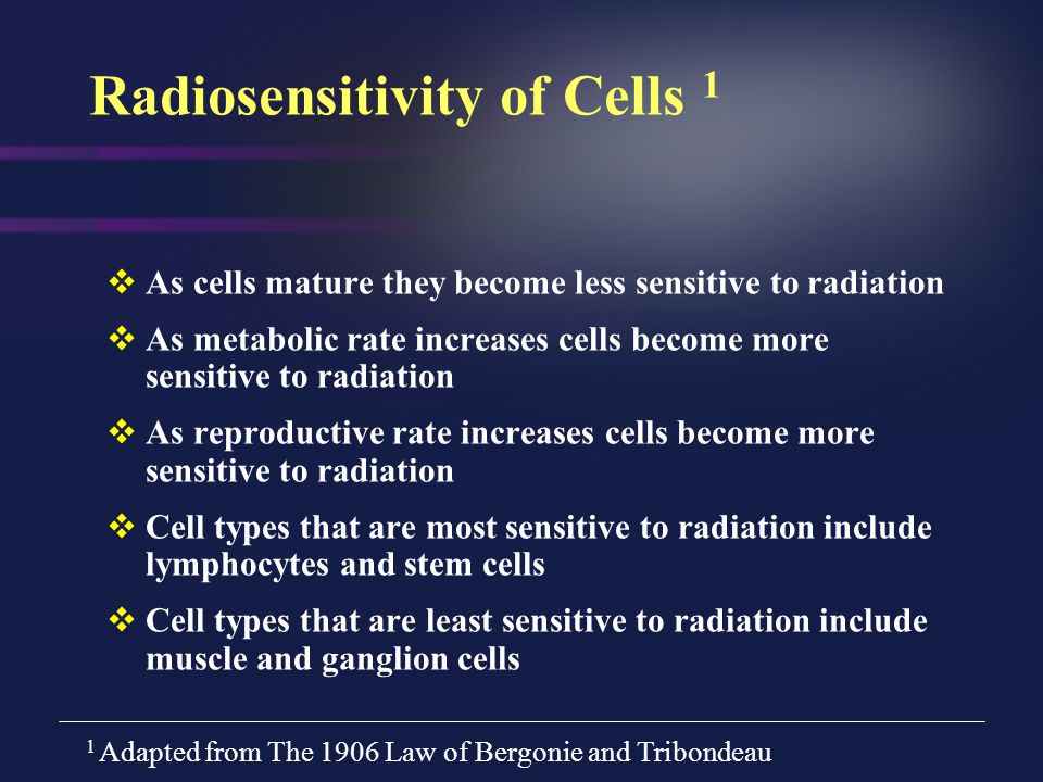 Radiosensitivity of Cells 1