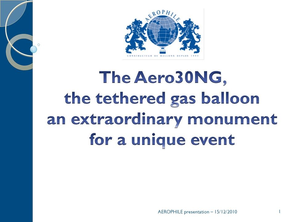 The Aero30NG, the tethered gas balloon an extraordinary monument for a unique event