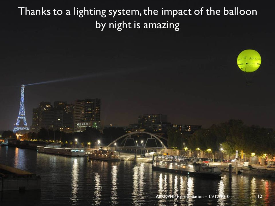 Thanks to a lighting system, the impact of the balloon by night is amazing