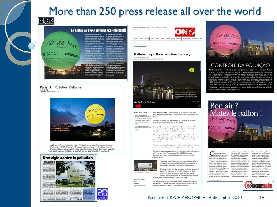 More than 250 press release all over the world