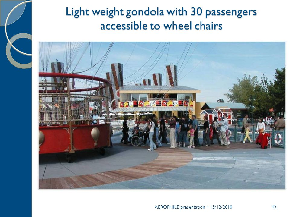 Light weight gondola with 30 passengers accessible to wheel chairs