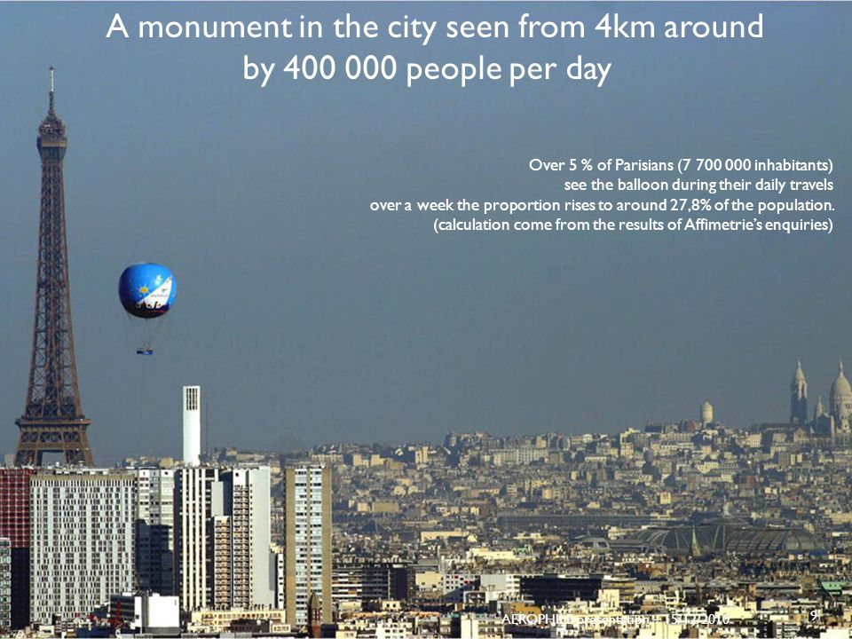 A monument in the city seen from 4km around by 400 000 people per day