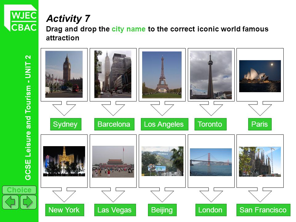 Activity 7 Drag and drop the city name to the correct iconic world famous attraction. Sydney. Barcelona.