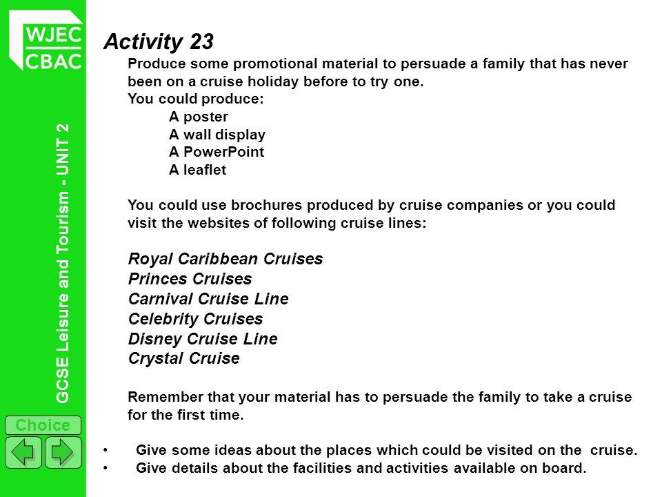 Activity 23 Princes Cruises Carnival Cruise Line Celebrity Cruises