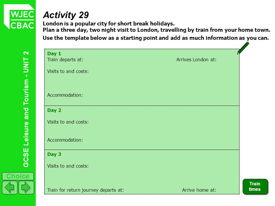 Activity 29 London is a popular city for short break holidays.