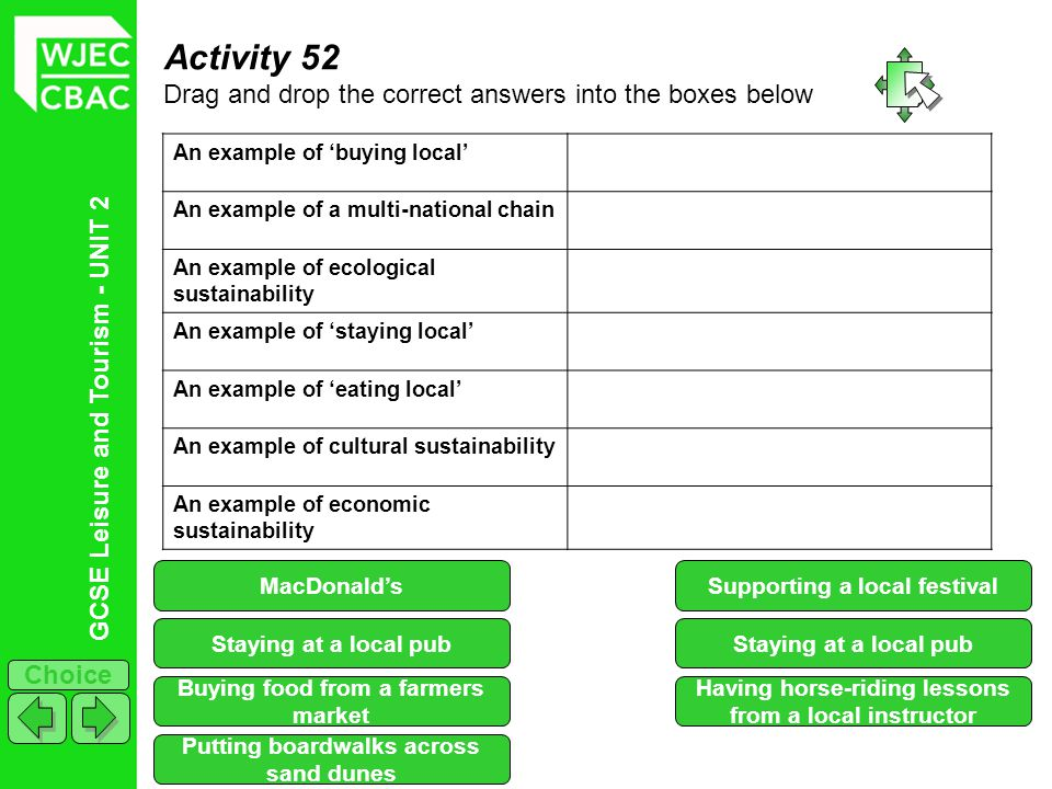 Activity 52 Drag and drop the correct answers into the boxes below