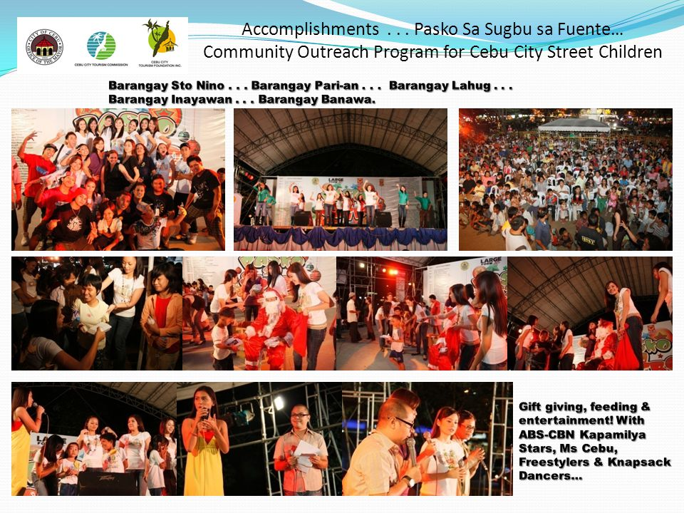 Accomplishments . . . Pasko Sa Sugbu sa Fuente… Community Outreach Program for Cebu City Street Children