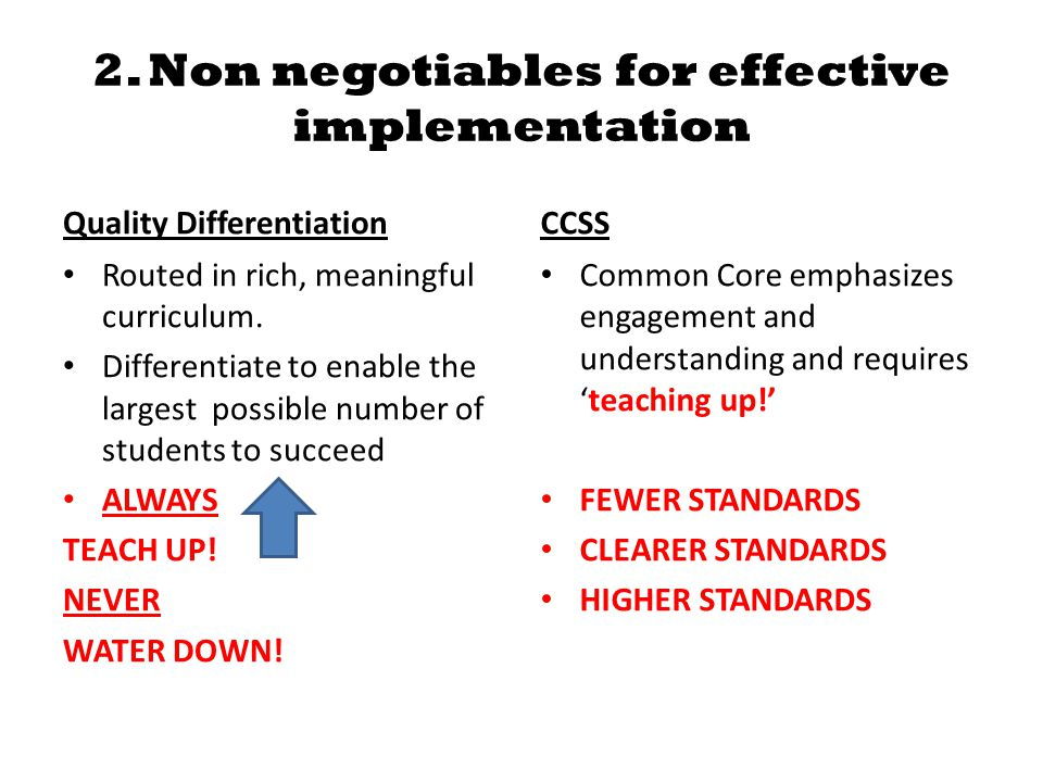 2. Non negotiables for effective implementation