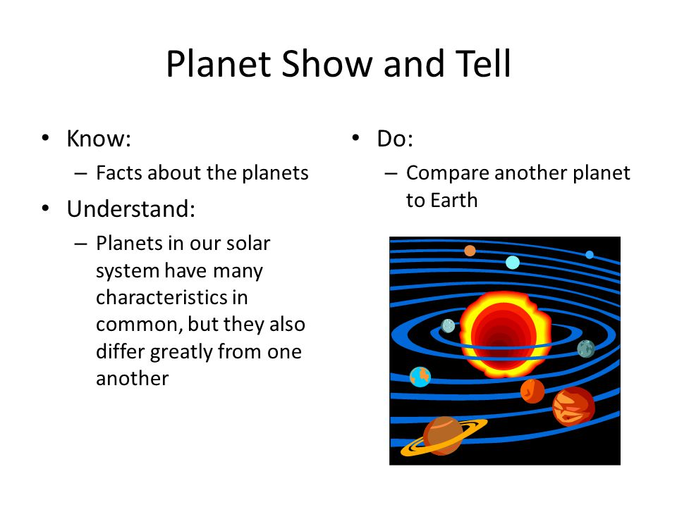 Planet Show and Tell Know: Understand: Do: Facts about the planets