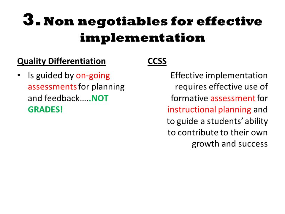 3. Non negotiables for effective implementation