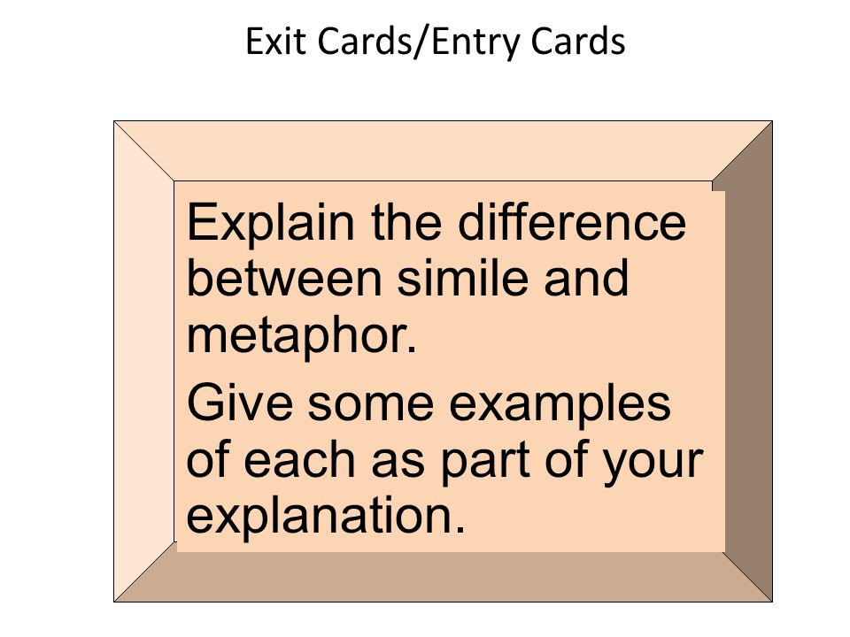 Exit Cards/Entry Cards