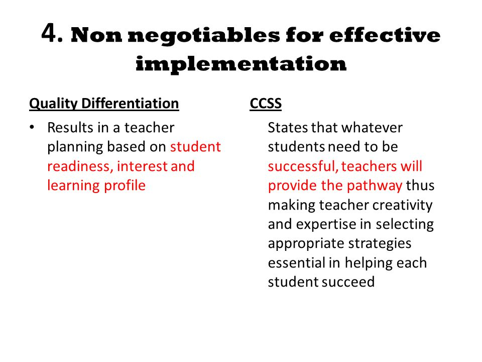 4. Non negotiables for effective implementation