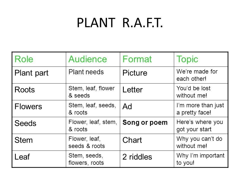 PLANT R.A.F.T. Role Audience Format Topic Plant part Picture Roots