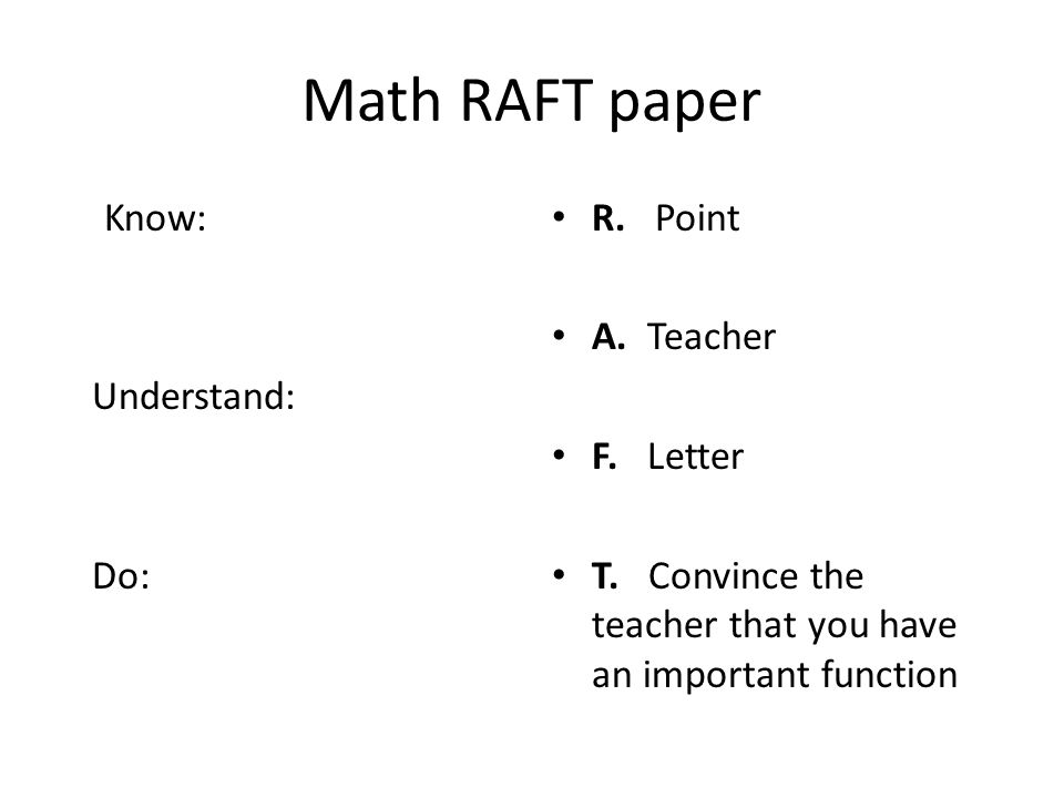 Math RAFT paper Know: Understand: Do: R. Point A. Teacher F. Letter
