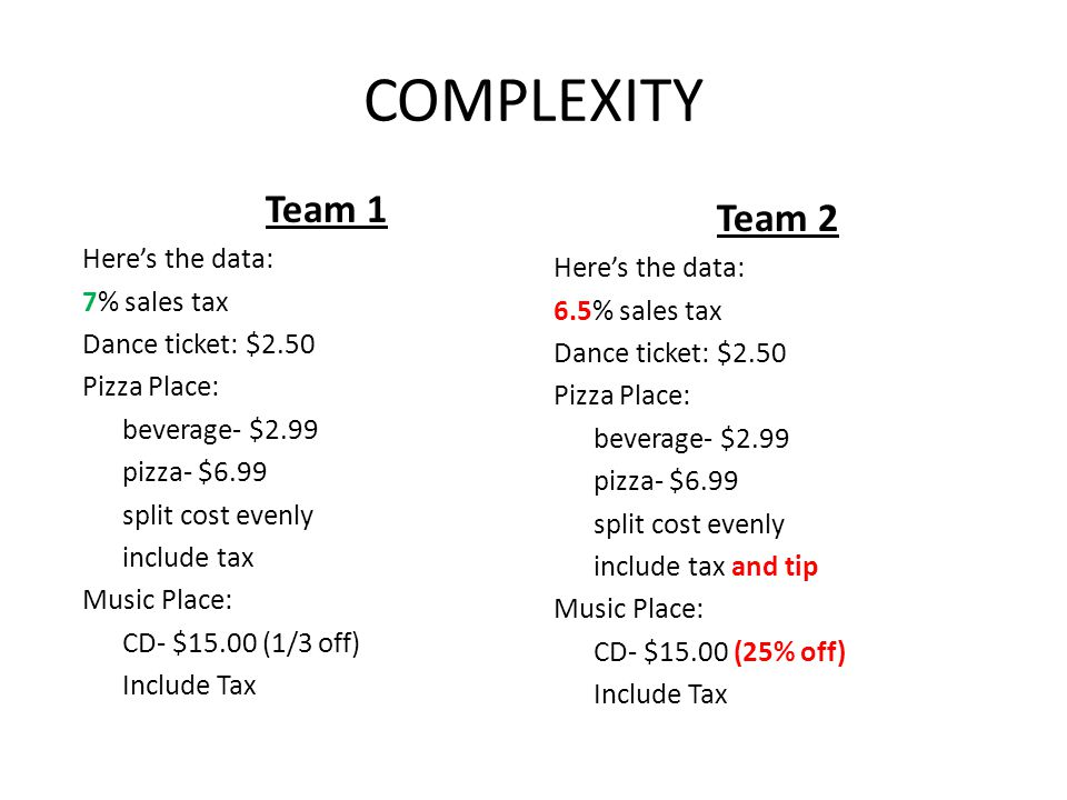 COMPLEXITY Team 1 Team 2 Here's the data: Here's the data: