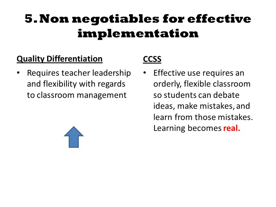 5. Non negotiables for effective implementation